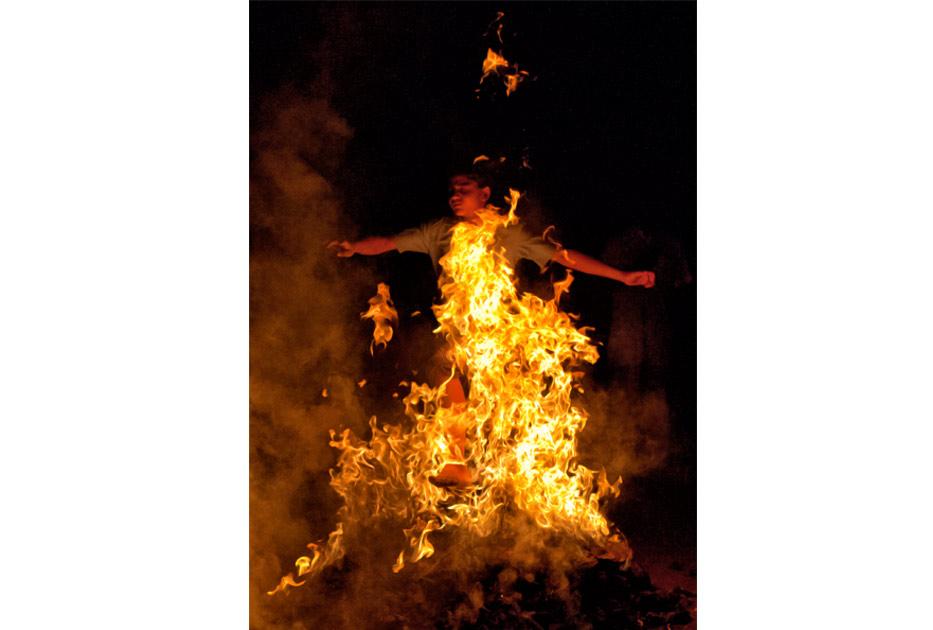 Fire jumping in Gujarat